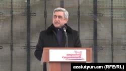 Серж Саргсян во время предвыборной встречи, Котайкская область, 31 января 2013 г.