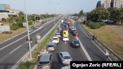 A traffic jam in the Serbian capital, Belgrade, due to a strike over rising fuel prices on June 8, 2018.