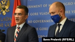 Justice Minister Vladimir Leposavic (left) and Foreign Minister Djordje Radulovic (right) pictured late last year
