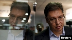 Serbian Prime Minister and leader of the Serbian Progressive Party Aleksandar Vucic at a polling station during elections on April 24, 2016