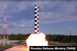 Russia's new Sarmat intercontinental ballistic missile blasts off during a test launch from an undisclosed location in Russia in July 2018.
