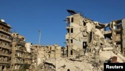 Pamje e një pjese të qytetit al-Bab të shkatërruar nga lufta