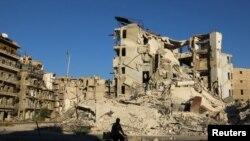 Разрушенные дома в Сирии.