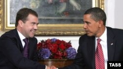 Russian President Dmitry Medvedev (left) and U.S. President Barack Obama during a meeting in New York on September 23.