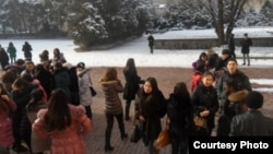 Студенты КазНУ имени аль-Фараби. Алматы, 14 декабря 2011 года.
