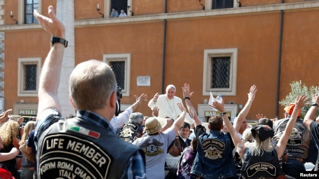 Pope Francis blesses Harley Davidson bikers outside St. Peter's Square in Rome.