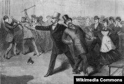 Покушение на президента Гарфилда 2 июля 1883 года на вашингтонском железнодорожном вокзале. Гравюра из газеты Frank Leslie's Illustrated Newspaper