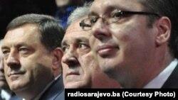 Milorad Dodik (L), Tomislav Nikolić (C) i Aleksandar Vučić