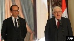 فرانسوا اولاند (سمت چپ) در دیدار با فواد معصوم، رییس جمهوری عراق.