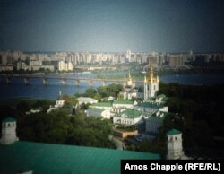 A view over Kyiv's Pechersk Lavra to the Dnieper River.