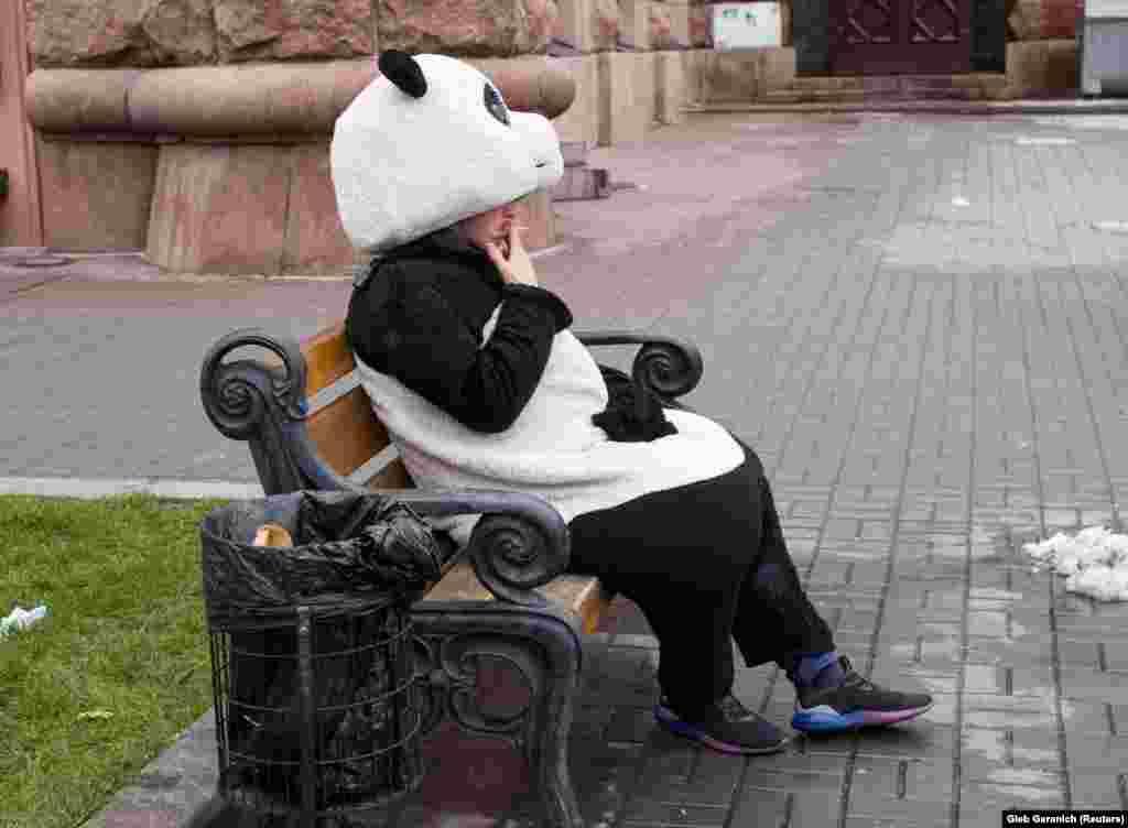 Чалавек-панда чакае турыстаў у цэнтры Кіева.