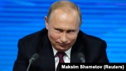 Президент Росії Володимир Путін під час прес-конференції. Москва, 20 грудня 2018 року
