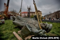 Prague waved goodbye to a statue of Soviet Marshall Ivan Konev.