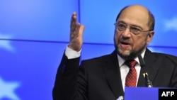 Բելգիա - Եվրախորհրդարանի նախագահ Մարտին Շուլցը ասուլիսի ժամանակ, Բրյուսել, 30-ը հունվարի, 2012թ.