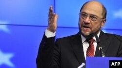 Еуропарламент спикері Мартин Шульц Еуропа Одағының саммитінде сөйлеп тұр. Бельгия, Брюссель, 30 қаңтар 2012 жыл.