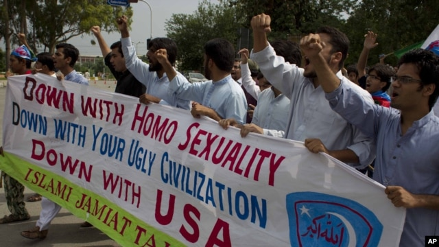 Pakistani students of the Islam-e Jamiat party rally to condemn a meeting organized by the U.S. Embassy supporting gay rights in Islamabad in July.