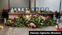 A memorial at the Boryspil International airport commemorate members of the Ukraine International Airlines Boeing 737-800 plane that crashed in Iran on January 8.