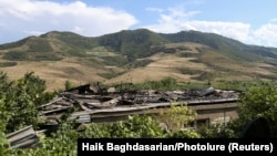 ARMENIA -- A view shows a house, which locals said was damaged during a recent shelling by Azerbaijani forces, in armed clashes on the border between Azerbaijan and Armenia, in the village of Aygepar, Tavush Province, July 15, 2020