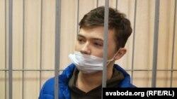 Мікіта Залатароў падчас суду, 22 лютага 2021 году.