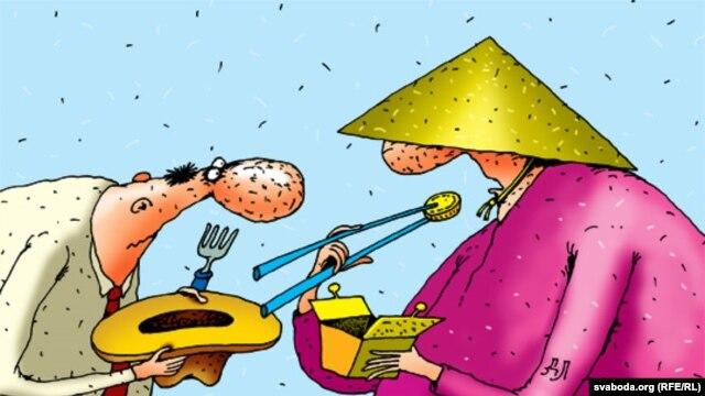 Карикатура на президента Беларуси Лукашенко и его договор с китайцами.