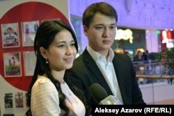 Айсаным Кастеева и Нурлан Науразбаев сыграли в фильме Акерке и ее возлюбленного Азамата. Алматы, 30 января 2017 года.