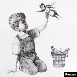 """Banksy """"Game Changer"""" című alkotása"""