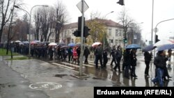 Bosnian public workers march in Banja Luka on November 30.