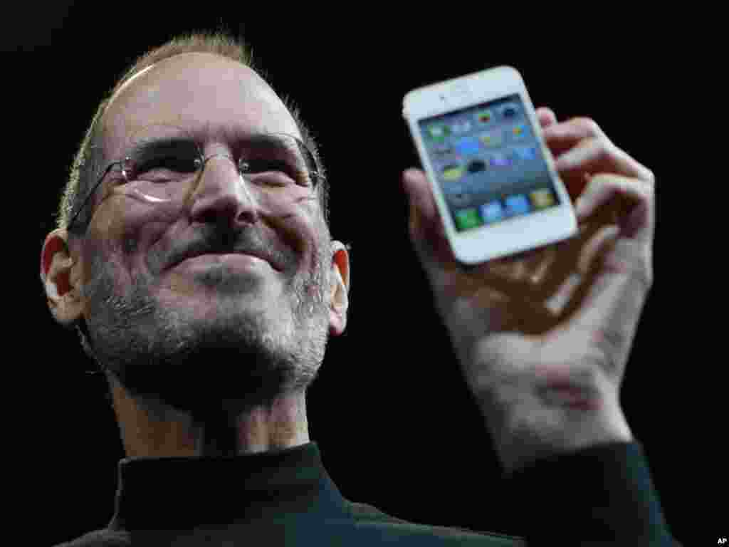 Jobs displays the latest iPhone at an Apple Worldwide Developers Conference in San Francisco in 2010. By this time, an emaciated Jobs had already taken leaves of absence and news of his battle with cancer was public knowledge.