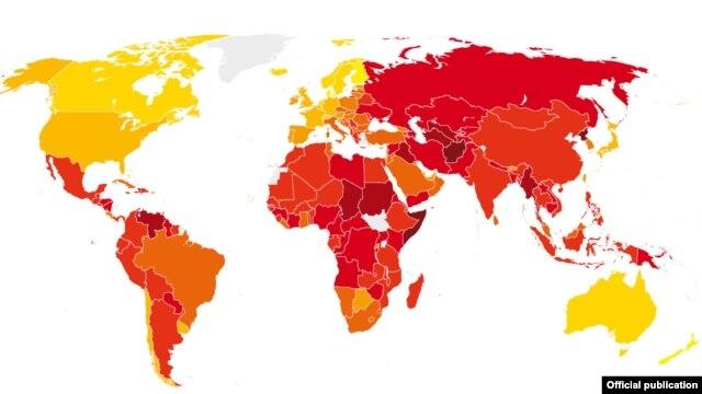 Mapa korupcije TI za 2012. godinu