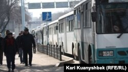 Жол бойында тұрған автобустар. (Көрнекі сурет)