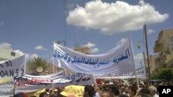 Антиправительственная демонстрация в городе Эль-Камышлы