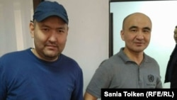 Activists Talghat Ayan (left) and Maks Boqaev in Atyrau in October 2016