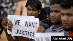 Қарсылық танытып тұрған рохинджа босқындары, Бангладеш (Көрнекі сурет).