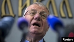 Vojislav Seselj speaks during a news conference inside his Serbian Radical Party headquarters in Belgrade on April 2.