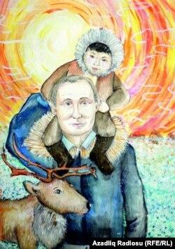 """Putin, çukça və maral. 12 yaşlı Olesya Drobışeva (""""Uşaqlar prezident Putinin şəklini çəkir"""" müsabiqəsi)"""