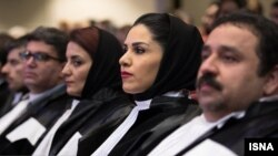 A group of Iranian lawyers at an event marking independence of Lawyers' Bar Association. March 1, 2018. FILE photo