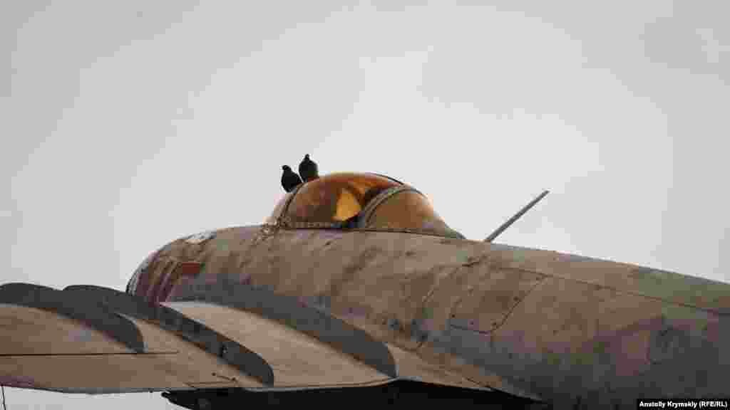Голуби на фонаре первого сверхзвукового советского истребителя МиГ-15