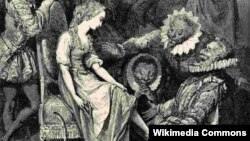 """Гюстав Доре. Гравюра """"Золушка примеряет башмачок"""" (1862 г.)"""