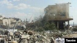 Іранскае агенцтва навінаў Тасьнім распаўсюдзіла гэты здымак пасьля авіяўдараў па Сырыі 14 красавіка
