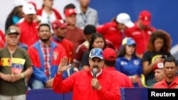 Николас Мадуро на митинге своих сторонников в Каракасе, 2 февраля 2019 года.