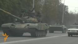 Tank Column Flies Separatist Flag Near Donetsk