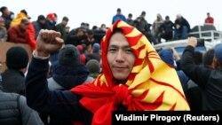 Фотографија од денешните протести во Бишкек, главниот град на Киргистан