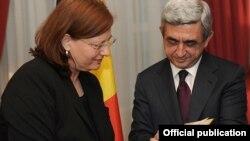 Встреча президента Армении Сержа Саргсяна с председателем Сената Бельгии Сабин де Бетюн, Брюссель, 5 марта 2012 г.