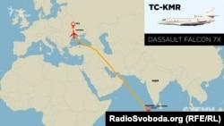 8 січня 2018 року. Falcon 7X з Порошенком на борту летить з міжнародного аеропорту міста Мале (Мальдіви) до Києва