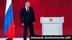 """Vladimir Putin, încheindu-și ieri discursul anual privind """"starea națiunii"""" ruse, 21 arilie, 2021."""