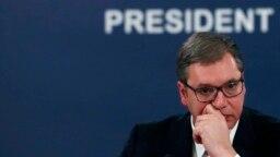 Predsednik Srbije Aleksandar Vučić tokom novogodišnje pres-konferencije u Beogradu (28. decembar 2020.)