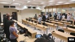 Изрекување на пресудите за организаторите за упадот и насилствата во Собранието на 27 април 2017 година. Поранешниот претседател на Собранието Трајко Вељаноски, поранешниот министер за труд и социјала Спиро Ристовски, поранешниот министер за транспорт и в