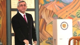 Armenia - Serzh Sarkisian, incumbent President, casts his vote at the presidential election in Armenia, Yerevan,18Feb2013
