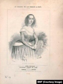 Анна Тильон в костюме Лоретты. Спектакль Opéra-Comique. Париж. 1841. Литография Виктора Долле.