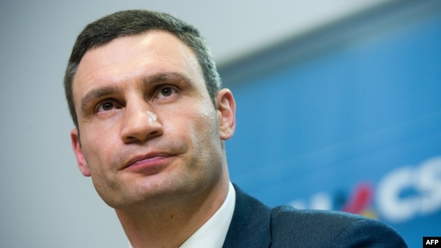 Ukraine opposition leader Vitali Klitschko addresses a press conference in Berlin on February 17.